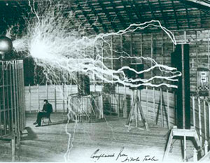 Tesla in his laboratory
