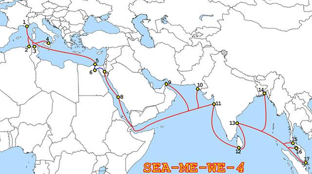 Маршрут подводного кабеля Sea-Me-We 4, построенного в 2005 году компаниями Alcatel- Lucent и Fujitsu
