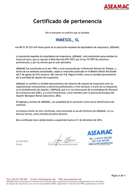 ASEAMAC, Свидетельство о членстве