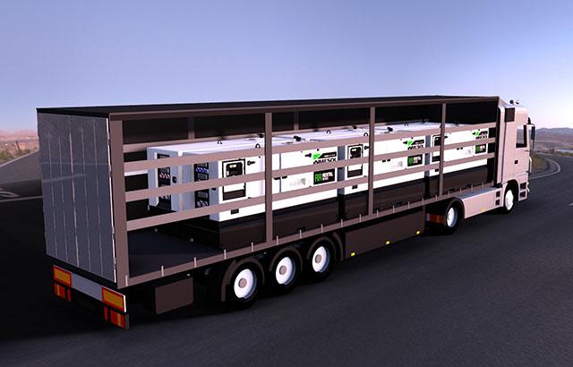 Инфографика 40-футового грузовика, транспортирующего модели электрогенераторных установок IRN-165, IVRN-145 и IVRN-165