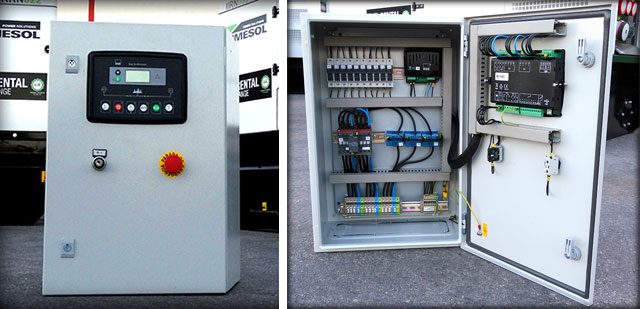 Коробка переключателя и распределительный щит DSE334 который будет подключен к генераторам