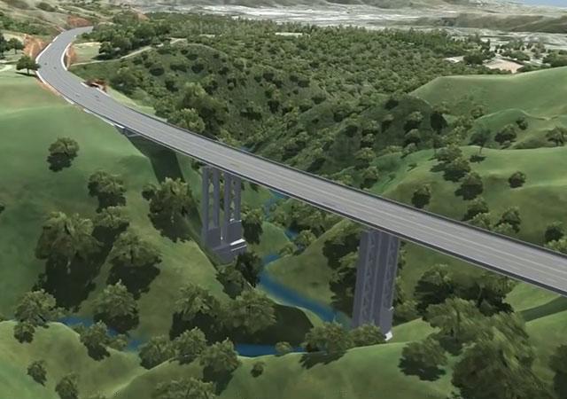 Инфографика секции с мостом будущей магистрали Gully