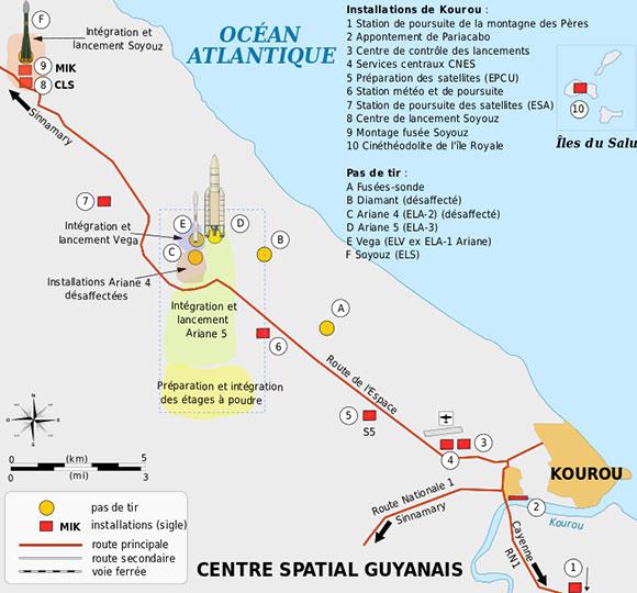 Карта расположения пусковых площадок. Фото: Википедия.