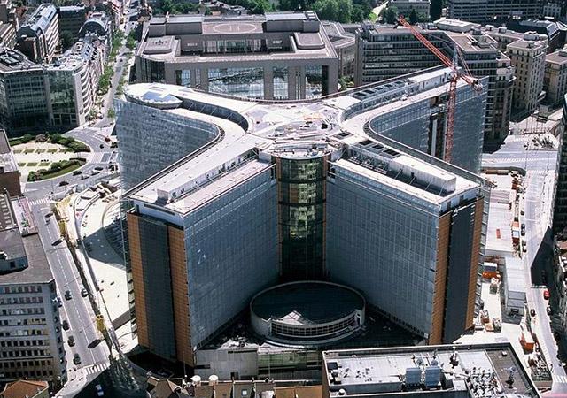 Изображение защищено авторским правом Евросоюза. Здание Берлемон с высоты птичьего полета
